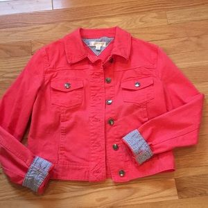 Kenar Coral Color Denim Jacket